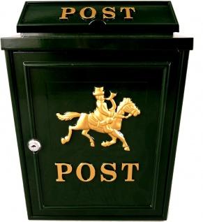 Casa Padrino Jugendstil Wandbriefkasten Post Pferdemotiv Dunkelgrün Gold Antik - Antik Stil Briefkasten Postkasten Pferd