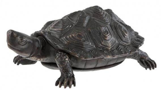 Casa Padrino Luxus Bronzefigur Schildkröte 14 x 9 x H. 5 cm - Luxus Qualität