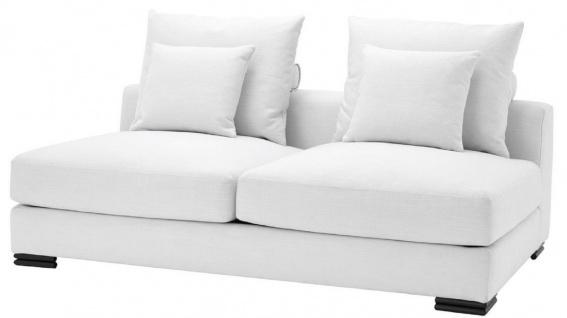 Casa Padrino Luxus Sofa Weiß / Schwarz 182 x 108 x H. 90 cm - Erweiterbares Wohnzimmer Sofa mit Kissen - Luxus Möbel