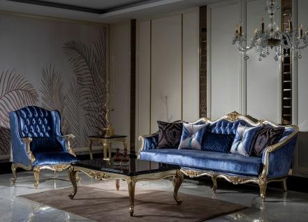 Casa Padrino Luxus Barock Wohnzimmer Set Blau / Silber / Gold - 2 Sofas & 2 Sessel & 1 Couchtisch - Prunkvolle Wohnzimmer Möbel im Barockstil