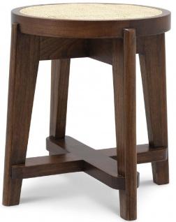 Casa Padrino Luxus Hocker Braun / Naturfarben Ø 44, 5 x H. 47 cm - Runder Massivholz Sitzhocker mit Rattangeflecht - Wohnzimmer Möbel