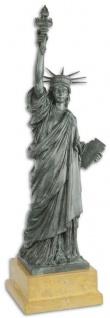 Casa Padrino Luxus Bronzefigur Freiheitsstatue Grau / Beige 20, 2 x 17 x H. 61, 5 cm - Bronze Skulptur mit Marmorsockel - Dekofigur
