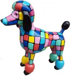 Casa Padrino Designer Gartendeko Skulptur Pudel Hund Mehrfarbig 64 x H. 63 cm - Gartendeko Figur - Wetterbeständige Gartenfigur - Dekorative Tierfigur