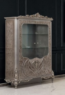 Casa Padrino Luxus Barock Vitrine Silber - Handgefertigter Massivholz Vitrinenschrank - Prunkvolle Barock Möbel
