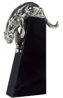Casa Padrino Luxus Bronzefigur Panther Silber / Schwarz 17 x 6 x H. 28 cm - Elegante Dekofigur auf Holzsockel