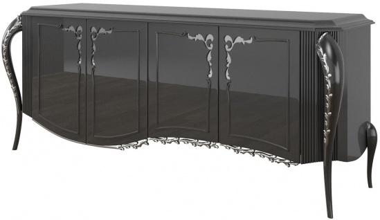 Casa Padrino Luxus Barock Sideboard Schwarz / Silber 218 x 56 x H. 94 cm - Edler Wohnzimmer Schrank mit 4 Türen - Barock Möbel
