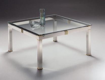 Casa Padrino Luxus Couchtisch Silber / Messingfarben 100 x 100 x H. 48 cm - Quadratischer Messing Wohnzimmertisch mit Glasplatte - Wohnzimmer Möbel - Luxus Qualität