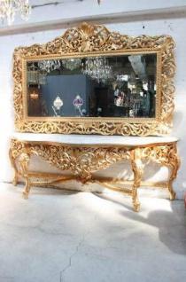 Riesige Casa Padrino Barock Spiegelkonsole Gold mit weißer Marmorplatte - Luxus Wohnzimmer Möbel Konsole mit Spiegel