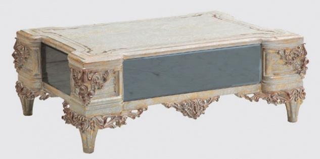 Casa Padrino Luxus Barock Wohnzimmertisch Creme / Kupfer / Blau / Gold 120 x 85 x H. 45 cm - Edler Massivholz Couchtisch im Barockstil - Barock Wohnzimmer Möbel