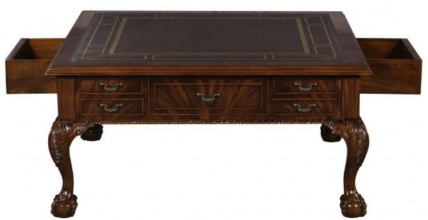 Casa Padrino Luxus Barock Wohnzimmertisch Dunkelbraun / Braun 100 x 100 x H. 49 cm - Couchtisch mit 20 Schubladen - Vorschau 3