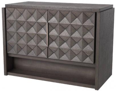 Casa Padrino Luxus Sideboard Mokkafarben / Bronze 115 x 56 x H. 83 cm - Massivholz Schrank mit 2 Türen und 3D Effekt in den Fronten - Luxus Möbel