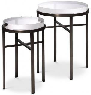 Casa Padrino Luxus Beistelltisch Set Bronzefarben - 2 Runde Edelstahl Tische mit Glasplatte - Luxus Wohnzimmer Möbel