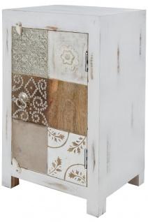 Casa Padrino Landhausstil Shabby Chic Kommode Antik Weiß / Mehrfarbig 40 x 32 x H. 70 cm - Kleiner Landhausstil Schrank mit Tür - Vorschau 3