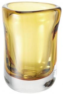Casa Padrino Luxus Deko Glas Vase Gelb Ø 12 x H. 17 cm - Mundgeblasene Blumenvase - Luxus Deko Accessoires