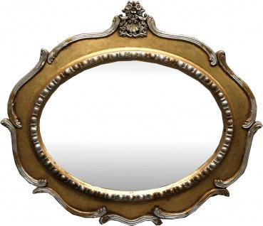 Casa Padrino Jugendstil Wandspiegel Oval Antik Gold mit Silberbemalung 100 x 85 cm - Antik Look Spiegel Barock