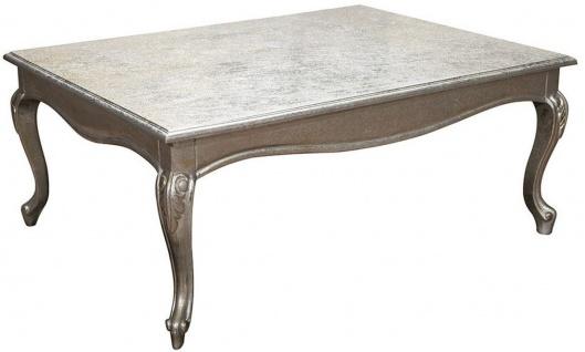 Casa Padrino Luxus Barock Couchtisch Antik Silber 100 x 80 x H. 45 cm - Massivholz Wohnzimmertisch mit Glasplatte - Möbel im Barockstil