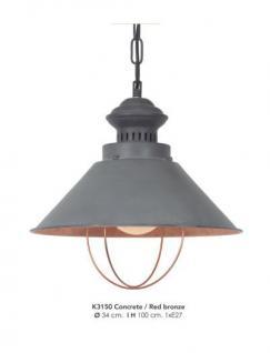 Casa Padrino Hängeleuchte Deckenleuchte Betonfarben / Bronzefarben Industrial Design 34 cm Durchmesser - Industrie Lampe Leuchte Industrieleuchte
