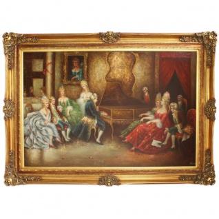 Riesiges Handgemaltes Barock Öl Gemälde Konzertflügel Gold Prunk Rahmen 225 x 165 x 10 cm - Massives Material