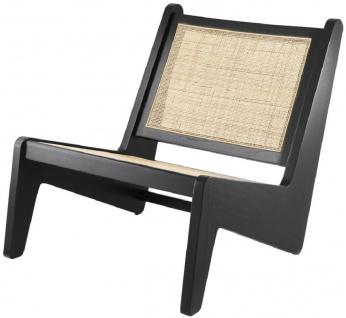 Casa Padrino Designer Wohnzimmer Sessel Schwarz / Naturfarben 75 x 89 x H. 77, 5 cm - Massivholz Sessel mit handgewebtem Rattangeflecht - Luxus Möbel