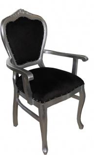 Casa Padrino Barock Luxus Esszimmer Stuhl mit Armlehnen Schwarz / Silber - Möbel - Limited Edition - Vorschau 2