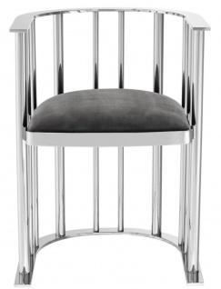 Casa Padrino Designer Stuhl mit Armlehnen Silber / Dunkelgrau 54, 5 x 53 x H. 68 cm - Designermöbel - Vorschau 4