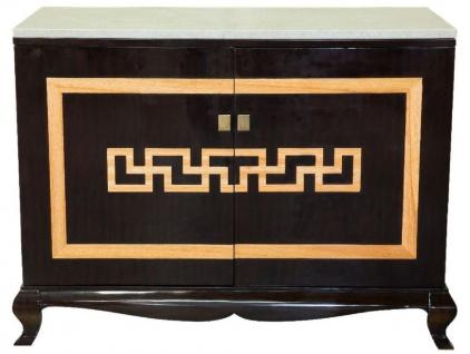 Casa Padrino Luxus Barock Likörschrank Schwarz / Naturfarben / Creme 110 x 55 x H. 87 cm - Massivholz Barschrank - Schnapsschrank mit Marmorplatte - Bar Möbel im Barockstil