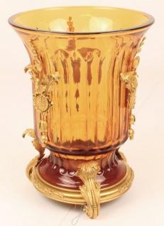 Casa Padrino Barock Vase Gelb / Rot / Gold Ø 25 x H. 33, 6 cm - Prunkvolle Glas Vase mit wunderschönen Messing Verzierungen - Vorschau 2