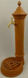 Casa Padrino Jugendstil Garten Wassersäule Rostfarben 28 x 33 x H. 78 cm - Nostalgische Gusseisen Wasserzapfsäule mit Wasserhahn - Garten Deko Accessoires