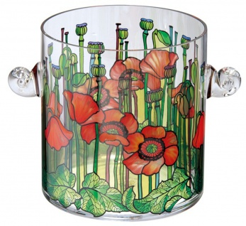 Handgefertigter Tiffany Tisch Champagner Kühler mit Mohnblumenmotiv H 19 cm - feinste Qualität aus der Tettau Porzellanfabrik - Sektkühler