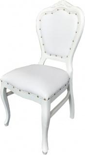 Casa Padrino Barock Luxus Esszimmer Stuhl Weiß Kunstleder / Weiß - Handgefertigte Möbel - Vorschau 2