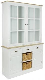 Casa Padrino Landhausstil Schrank mit 2 Glastüren Antik Weiß / Naturfarben 123 x 32 x H. 200 cm - Landhausstil Möbel - Vorschau 2