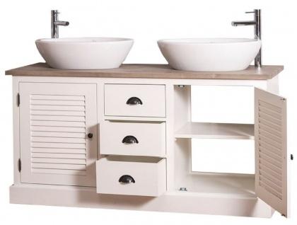 Casa Padrino Landhausstil Doppel-Waschtisch mit 2 Türen und 3 Schubladen Creme / Naturfarben 150 x 51 x H. 75 cm - Badezimmermöbel im Landhausstil - Vorschau 4
