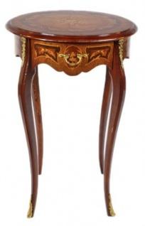 Casa Padrino Barock Beistelltisch Mahagoni Intarsien mit Schublade H70 x 50cm - Ludwig XVI Antik Stil Tisch - Möbel - Vorschau