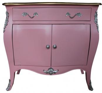 Casa Padrino Barock Kommode Rosa / Braun mit einer Schublade und 2 Türen H. 88 cm - Handgefertigt aus Massivholz- Limited Edition
