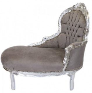 Casa Padrino Barock Kinder Chaiselongue Grau / Silber Mod2 - Barock Möbel