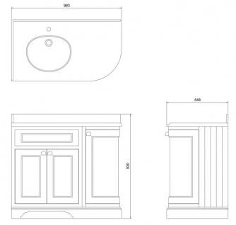 Casa Padrino Waschschrank / Waschtisch mit Marmorplatte und 3 Türen - Hotel Restaurant Möbel - Vorschau 4