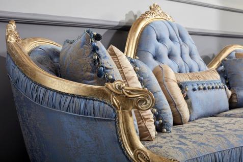 Casa Padrino Luxus Barock Chesterfield Sofa Hellblau / Antik Gold 300 x 90 x H. 119 cm - Prunkvolles Barock Wohnzimmer Sofa - Barockmöbel - Vorschau 4
