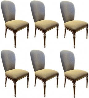 Casa Padrino Luxus Barock Esszimmer Stuhl Set Grau / Braun / Silber 52 x 55 x H. 100 cm - Barock Küchen Stühle 6er Set - Esszimmer Möbel im Barockstil