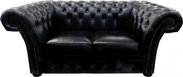 Casa Padrino Luxus Echtleder 2er Sofa Schwarz 170 x 90 x H. 80 cm - Chesterfield Möbel