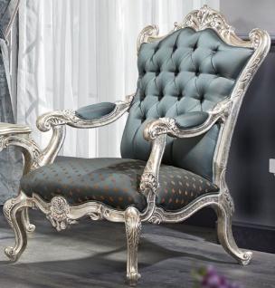 Casa Padrino Luxus Barock Chesterfield Thron Sessel Türkis / Dunkeltürkis / Gold / Silber 87 x 83 x H. 110 cm - Barockmöbel