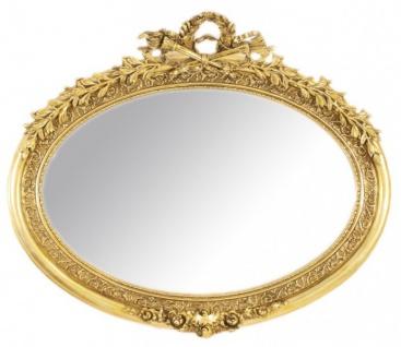 Casa Padrino Luxus Barock Wandspiegel Oval Gold - Massiv und Schwer - Goldener Spiegel