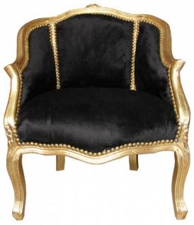 Casa Padrino Barock Damen Salon Sessel Schwarz / Gold 63 x 53 x H. 80 cm - Barock Wohnzimmermöbel