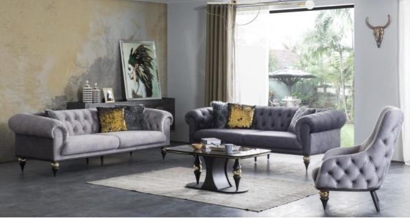 Casa Padrino Luxus Art Deco Chesterfield Wohnzimmer Set - 2 Sofas & 2 Sessel & 1 Couchtisch mit Glasplatte in Marmoroptik - Edle Art Deco Wohnzimmer Möbel
