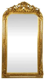 Casa Padrino Barock Wandspiegel Gold 85 x H. 160 cm - Barock Spiegel mit wunderschönen Verzierungen - Barock Möbel