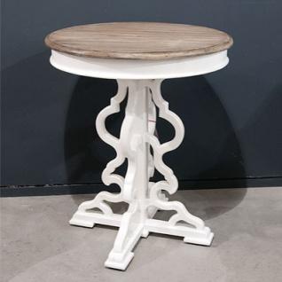 Casa Padrino Barock Beistelltisch Mahagoni Holz Weiß Antik Stil 60 x 60 x H73 cm - Jugendstil Tisch