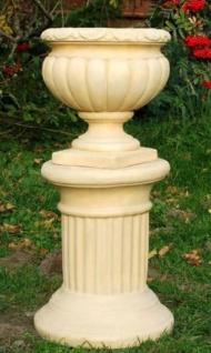 Casa Padrino Barock Säule Sandfarben Ø 32 x H. 40 cm - Kleine runde Gartensäule im Barockstil - Garten Deko Accessoires