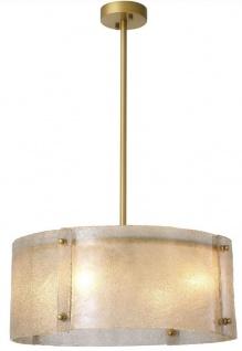 Casa Padrino Luxus Kronleuchter Antik Messingfarben Ø 68 x H. 28, 5 cm - Runder Metall Kronleuchter mit Lampenschirm aus mundgeblasenem Glas - Luxus Qualität