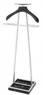 Casa Padrino Luxus Dressboy Silber / Schwarz 50, 5 x 31 x H. 117 cm - Kleiderständer Garderobenständer Anzugständer Stummer Diener Herrendiener - Luxus Accessoires