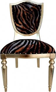Casa Padrino Art Deco Luxus Esszimmer Stuhl Leopard / Gold - Luxus Hotel Möbel
