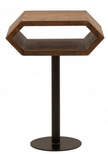 Casa Padrino Designer Beistelltisch Natur / Schwarz Sheesham 45cm x 35cm x H.65cm Massivholz
